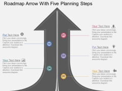Roadmap Arrow With Five Planning Steps Powerpoint Template