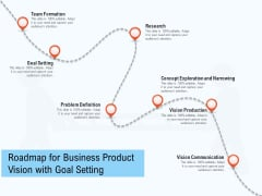 Roadmap For Business Product Vision With Goal Setting Ppt PowerPoint Presentation Gallery Deck PDF
