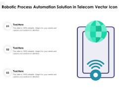 Robotic Process Automation Solution In Telecom Vector Icon Ppt PowerPoint Presentation File Backgrounds PDF