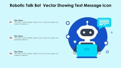 Robotic Talk Bot Vector Showing Text Message Icon Ppt PowerPoint Presentation Gallery Deck PDF