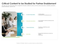 Robust Partner Sales Enablement Program Critical Content To Be Studied For Partner Enablement Clipart PDF