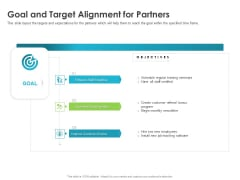 Robust Partner Sales Enablement Program Goal And Target Alignment For Partners Icons PDF
