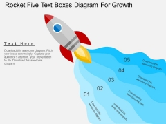 Rocket Five Text Boxes Diagram For Growth Powerpoint Template