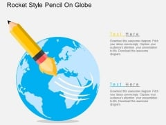 Rocket Style Pencil On Globe Powerpoint Templates