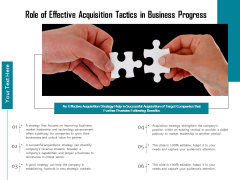 Role Of Effective Acquisition Tactics In Business Progress Ppt PowerPoint Presentation Summary Styles PDF