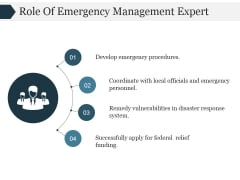 Role Of Emergency Management Expert Ppt PowerPoint Presentation Deck