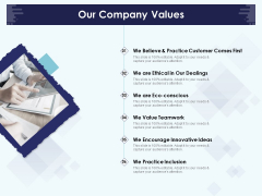 Role Of Human Resource In Workplace Culture Our Company Values Formats PDF