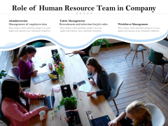 Role Of Human Resource Team In Company Ppt PowerPoint Presentation Icon Design Inspiration PDF