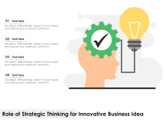 Role Of Strategic Thinking For Innovative Business Idea Ppt PowerPoint Presentation Inspiration Background Images PDF