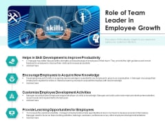 Role Of Team Leader In Employee Growth Ppt PowerPoint Presentation Gallery Graphic Tips PDF