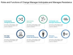 Roles And Functions Of Change Manager Anticipates And Manages Resistance Ppt Powerpoint Presentation Pictures Microsoft
