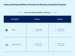 Roles And Responsibilities Of Partners For Business Acquisition Proposal Ppt PowerPoint Presentation File Examples