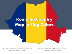 Romania Country Map In Flag Colors Ppt PowerPoint Presentation Gallery Smartart PDF