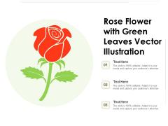 Rose Flower With Green Leaves Vector Illustration Ppt PowerPoint Presentation Model Inspiration PDF