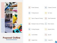 Rotary Press Printing Proposal Outline Ppt Outline Example Topics PDF