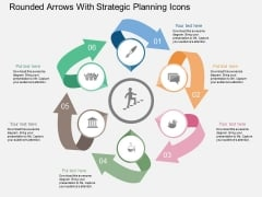 Rounded Arrows With Strategic Planning Icons Powerpoint Template