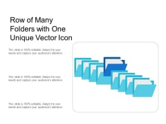 Row Of Many Folders With One Unique Vector Icon Ppt PowerPoint Presentation Inspiration Slideshow PDF