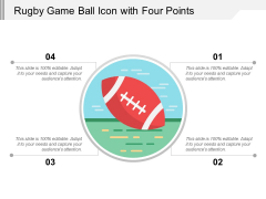Rugby Game Ball Icon With Four Points Ppt PowerPoint Presentation File Themes