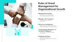 Rules Of Great Management For Organizational Growth Ppt Model Topics PDF