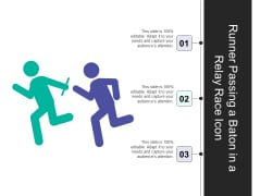 Runner Passing A Baton In A Relay Race Icon Ppt PowerPoint Presentation File Portrait PDF