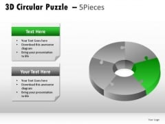 Rainbow 3d Circular Puzzle 5 Pieces PowerPoint Slides And Ppt Diagram Templates