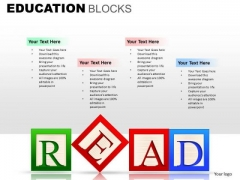 Read Education Blocks With Text Boxes PowerPoint Templates Ppt Slides
