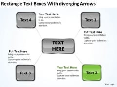Rectangle Text Boxes With Diverging Arrows Chart Circular Flow Network PowerPoint Templates