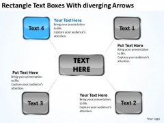 Rectangle Text Boxes With Diverging Arrows Chart Cycle Process PowerPoint Slides