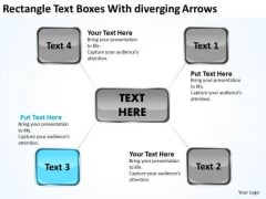 Rectangle Text Boxes With Diverging Arrows Cycle Process PowerPoint Slides