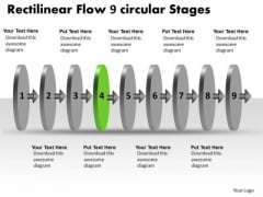 Rectilinear Flow 9 Circular Stages Tech Support Chart PowerPoint Slides