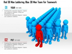 Red 3d Man Laddering Blue 3d Man Team For Teamwork