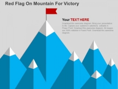Red Flag On Mountain For Victory PowerPoint Template