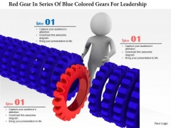 Red Gear In Series Of Blue Colored Gears For Leadership