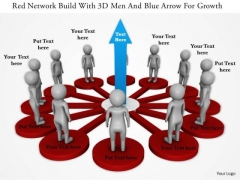 Red Network Build With 3d Men And Blue Arrow For Growth
