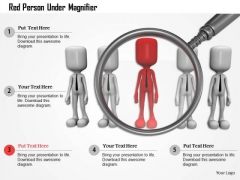 Red Person Under Magnifier PowerPoint Templates