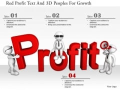 Red Profit Text And 3d Peoples For Growth