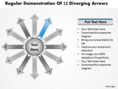 Regular Demonstration Of 12 Diverging Arrows Circular Chart PowerPoint Slides