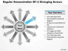 Regular Demonstration Of 12 Diverging Arrows Circular Flow Motion Chart PowerPoint Templates