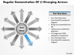 Regular Demonstration Of 12 Diverging Arrows Circular Process Diagram PowerPoint Templates