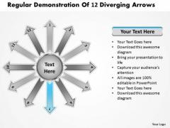 Regular Demonstration Of 12 Diverging Arrows Circular Spoke Network PowerPoint Slides
