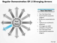 Regular Demonstration Of 12 Diverging Arrows Circular Spoke Network PowerPoint Templates