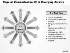 Regular Demonstration Of 12 Diverging Arrows Ppt Circular Flow Diagram PowerPoint Slides
