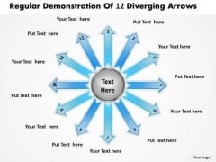 Regular Demonstration Of 12 Diverging Arrows Ppt Circular Layout Diagram PowerPoint Templates
