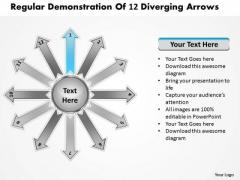Regular Demonstration Of 12 Diverging Arrows Ppt Circular Process PowerPoint Slides