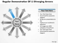 Regular Demonstration Of 12 Diverging Arrows Target Chart PowerPoint Templates