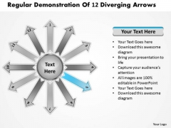 Regular Demonstration Of 12 Diverging Arrows Target Network PowerPoint Templates