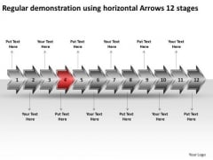 Regular Demonstration Using Horizontal Arrows 12 Stages Flow Chart System PowerPoint Slides