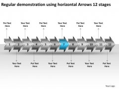 Regular Demonstration Using Horizontal Arrows 12 Stages Free Flow Chart Maker PowerPoint Templates