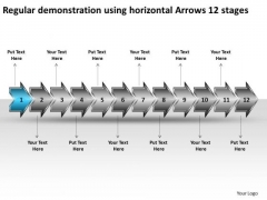 Regular Demonstration Using Horizontal Arrows 12 Stages Make Flow Chart PowerPoint Slides