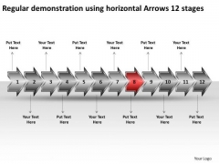 Regular Demonstration Using Horizontal Arrows 12 Stages Planning Flow Chart PowerPoint Slides